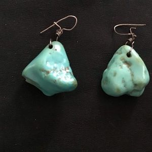 Vintage Chunky Turquoise Dangle Pierced Earrings